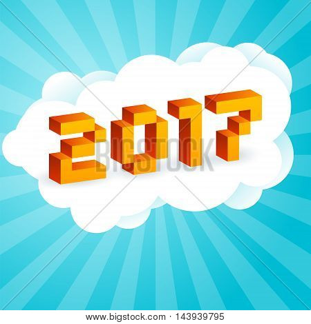 2017 text in style of old 8-bit video games. Vibrant 3D Pixel Letters. New Year poster flyer template. Holiday retro vector illustration on a blue background