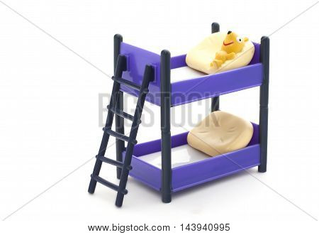 Doll Bunk Bed With Stairs And Pillows On White Background