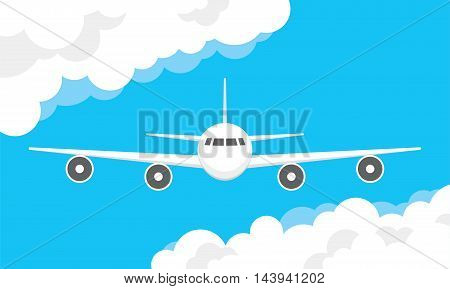 Airplane In A Cloudy Sky