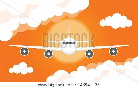 Airplane In A Cloudy Sunset Sky