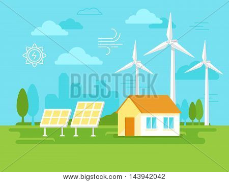 Vector Illustration In Simple Flat Style - Alternative And Renewable Energy