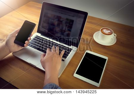Freelancer Needs Workstation With Accessories And Cup Of Coffee, Open Laptop Computer