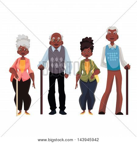 African American old men and woman cartoon style illustration isolated on white background. Set of full length male and female portraits of black senior citizens pensioners elder people