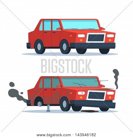 Car sedan vehicle before and after car crash road accident. Wrecked and okay vehicle. Broken and new car. Vector trendy flat cartoon design isolated illustration