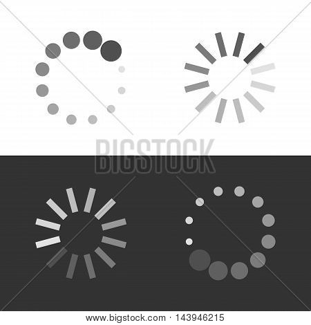 Circular loading sign. Collection icons of modern preloaders. Vector illustration isolated on white and black background