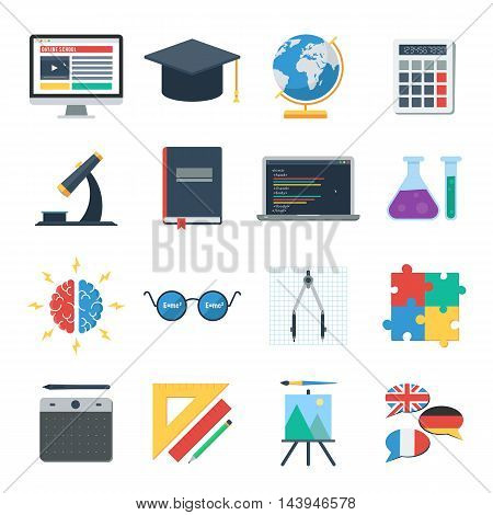 Online school, E learning. Icons set of web training and study online. Vector icons for distance education for banner, web design or print