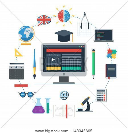 E-learning concept, IT Communication, internet network as knowledge base. Set of flat design icons for web and mobile services and apps. Vector Icons for online education for web design banner or print