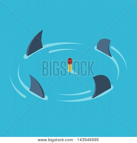 Man snorkeling in the middle of the ocean surrounded by sharks. Business metaphor the concept of risk, danger and stress. Vector colorful illustration isometric flat style