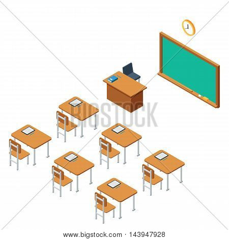 School classroom with a chalkboard and desks. Class for education, board, table, the blackboard and lesson. Training, studying, educational, learn concept. Vector flat isometric illustration isolated on white background