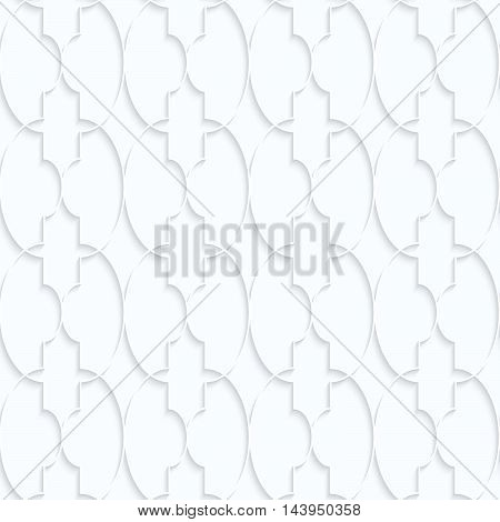 Quilling white paper Marrakech with ovals grid.White geometric background. Seamless pattern. 3d cut out of paper effect with realistic shadow. poster