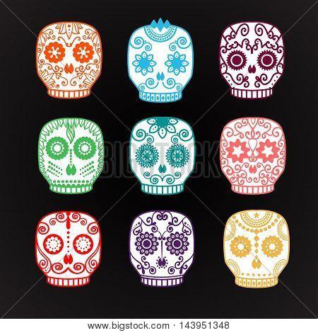 Sugar skull set. Day of the Dead skull vector illustration. Mexican skull.