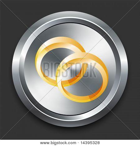 Wedding Rings Icon on Metal Internet Button Original Vector Illustration