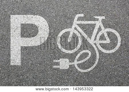 Parking Lot Sign E-bike E Bike Ebike Park Electric Bike Electro Bicycle Eco Friendly