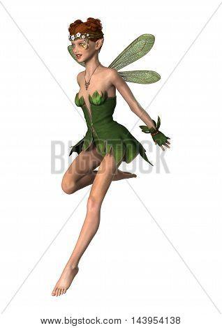 3D Rendering Spring Fairy On White