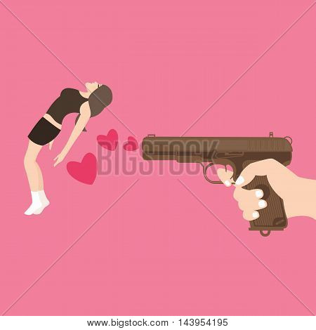 shot girl with gun kill with love heart symbol vector