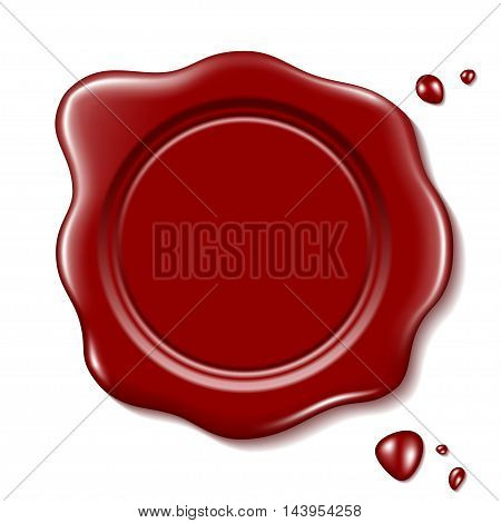 Red wax seal with small drops, isolated on a white background