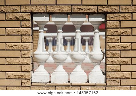 terracotta ceramic white mini column to make void on wall for wind blow or light hole