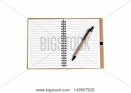Open Note Book With Pen Isolated On White Background