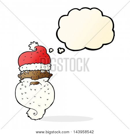 cartoon grim santa face with thought bubble