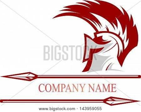 logo illustration spartan knight helmet with lance sharp