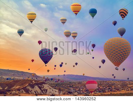 Hot Air Balloon In The Mountain