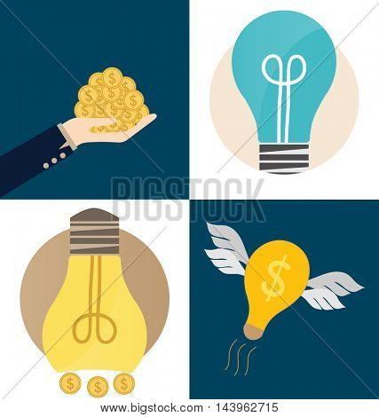 Business concept. Hand and Light bulb with money coins. Vector illustration