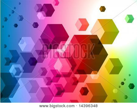 3D Cubes on Colorful Abstract Background Original Illustration poster