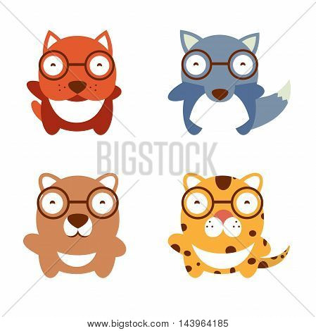 Cute cartoon animals collection. Vector set of cute animals. Vector illustration of cartoon dog and leopard