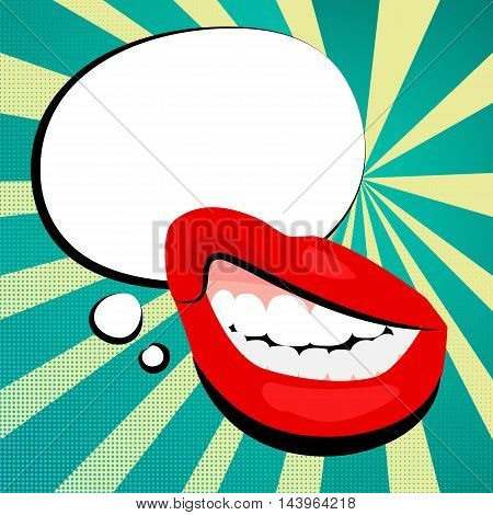 Vector colored icons sexy womens shiny red daring lips open mouth teeth. White cloud round background message vintage retro style pop art. Illustration hand drawn