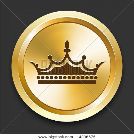 Crown on Golden Internet Button Original Illustration