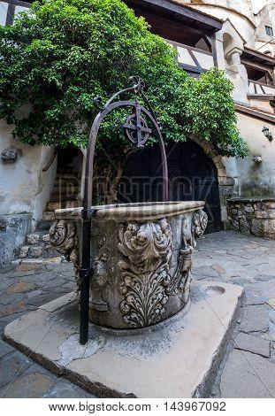 well in Bran Castle known as Dracula's Castle near Bran in Romania