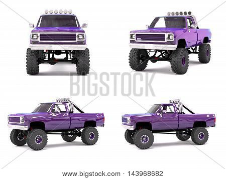 Large Pickup Truck Off-road. Full - Training. Highly Raised Suspension. Huge Wheels With Spikes For