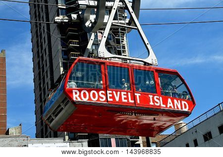 New York City - August 31 2011: Roosevelt Island Tram suspended from heavy steel cables en route to Manhattan