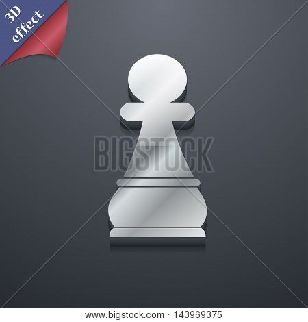 Chess Pawn Icon Symbol. 3D Style. Trendy, Modern Design With Space For Your Text Vector