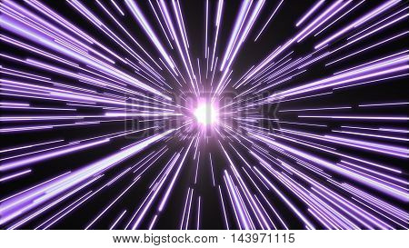Purple lights flying past at high speed, with a bright white light at the end of the tunnel.
