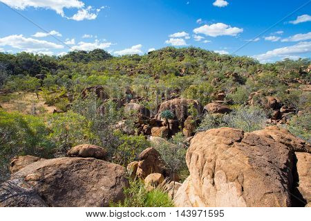 O'Brien's Creek and surrounding gem fossicking landscape near Mount Surprise in Queensland, Australia