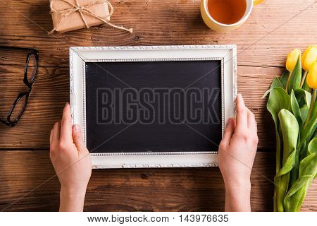 Picture Frame With Copy Space, Bouquet Of Tulips, Gift