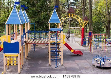 swing for children in the park modern, swinging, ladder