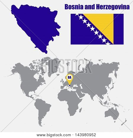 Bosnia and Herzegovina map on a world map with flag and map pointer. Vector illustration