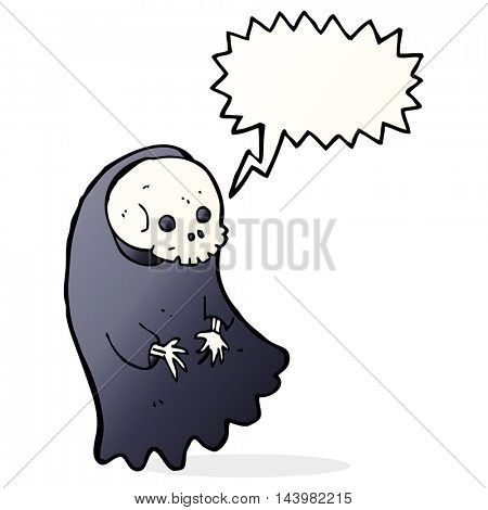 cartoon spooky ghoul with speech bubble