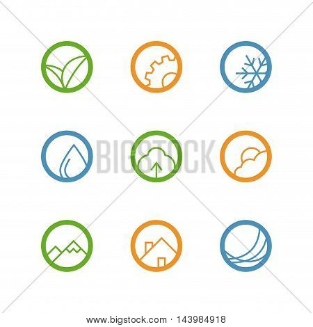 Round vector outline icon set - leaves, gear, drop, snowflake, tree, weather, mountains, house and waves