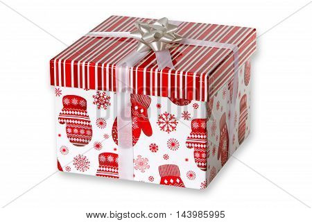 Christmas present box isolated on white background