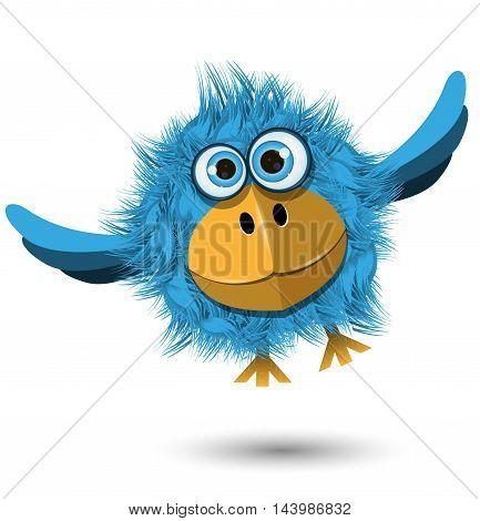 Illustration of a funny blue bird in flight