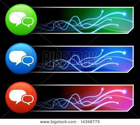 Chat Icon on Mutli Colored Button Set Original Illustration
