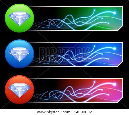 Diamond Icon on Mutli Colored Button Set Original Illustration