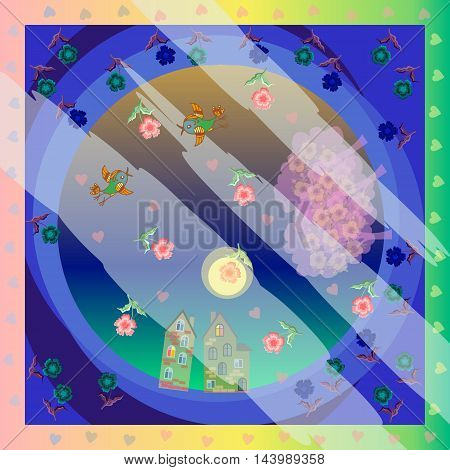 Night song. Vector bandana print or silk neck scarf. Spring. Love. Rain of hearts and flowers. Night fog. Cartoon romantic pattern. Moonlight. Kerchief square pattern design style for print on fabric.