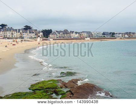 beach scenery at a commune named Quiberon in the Morbihan department in Brittany France