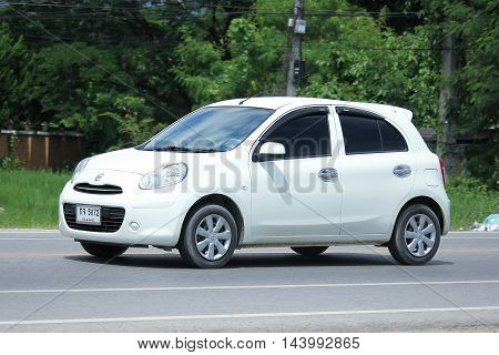 CHIANGMAI THAILAND -AUGUST 9 2016: Private Eco car Nissan March. On road no.1001 8 km from Chiangmai Business Area.