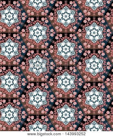 Seamless patchwork pattern from hexagons with floral ornament. Patchwork vector. Quilting design.
