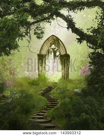 Fantasy antique gate in a beautiful forest